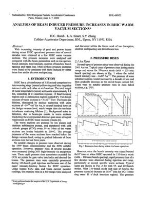 Primary view of object titled 'ANALYSIS OF BEAM INDUCED PRESSURE INCREASES IN RHIC WARM VACUUM SECTIONS.'.