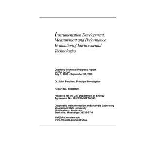 Primary view of object titled 'INSTRUMENTATION DEVELOPMENT, MEASUREMENT AND PERFORMANCE EVALUATION OF ENVIRONMENTAL TECHNOLOGIES'.