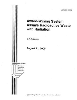 Primary view of object titled 'Award-Winning System Assays Radiation Waste With Radiation'.