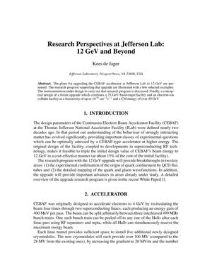 Primary view of object titled 'Research Perspectives at Jefferson Lab: 12 GeV and Beyond'.