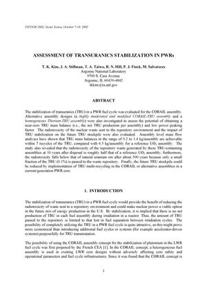 Primary view of object titled 'Assessment of transuranics stabilization in PWRs'.
