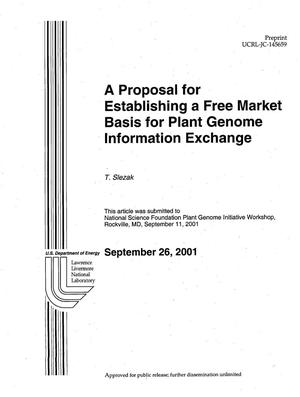 Primary view of object titled 'A Proposal for Establishing a Free Market Basis for Plant Genome Information Exchange'.