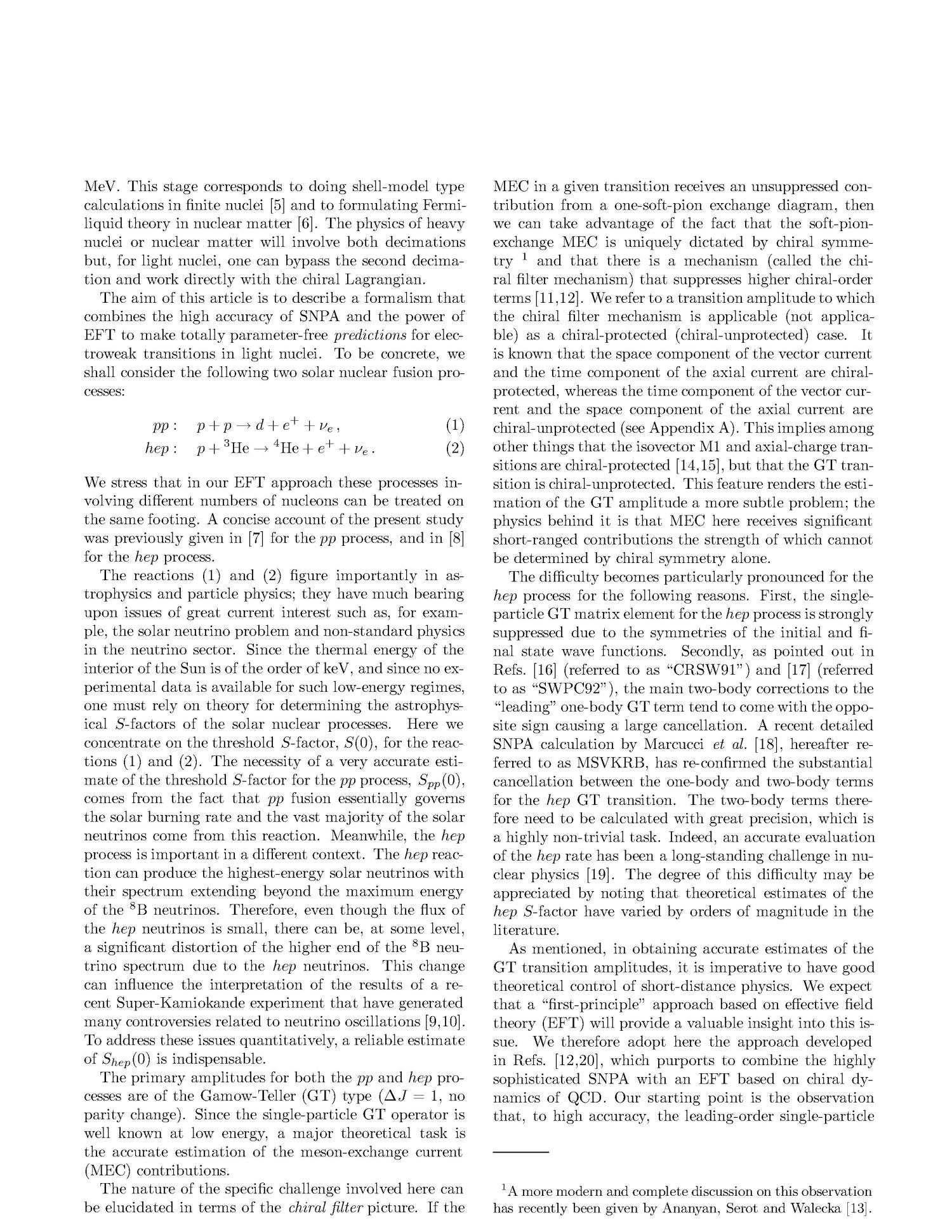 Parameter-free effective field theory calculation for the solar proton-fusion and hep processes                                                                                                      [Sequence #]: 2 of 22