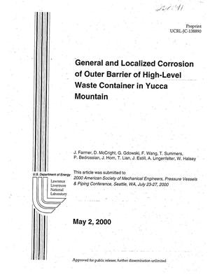 Primary view of object titled 'General and Localized Corrosion of Outer Barrier of High-Level Waste Container in Yucca Mountain'.