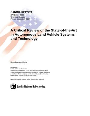 Primary view of object titled 'A Critical Review of the State-of-the-Art in Autonomous Land Vehicle Systems and Technology'.