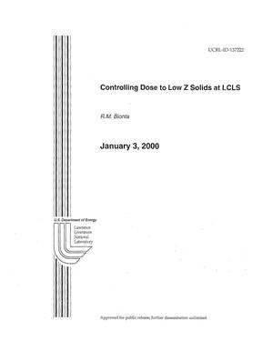 Primary view of object titled 'Controlling Dose to Low Z Solids at LCLS'.