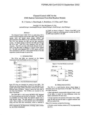 Primary view of object titled 'Channel control ASIC for the CMS hadron calorimeter front end readout module'.
