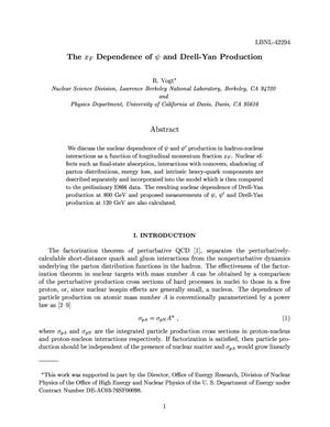 Primary view of object titled 'Xf dependence of psi and Drell-Yan production'.