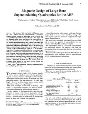 Primary view of object titled 'Magnetic design of large-bore superconducting quadrupoles for the AHF'.