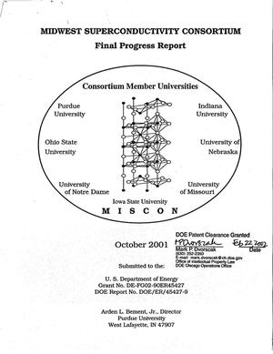 Primary view of object titled 'Midwest Superconductivity Consortium - Final Progress Report October 2001'.