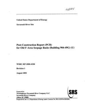 Primary view of object titled 'Post-Construction Report (PCR) for Old F-Area Seepage Basin (Building 904-49G)'.