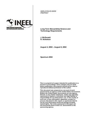 Primary view of object titled 'Long-Term Stewardship Science and Technology Requirements'.