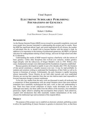 Primary view of object titled 'Electronic Scholarly Publishing: Foundations of Genetics'.