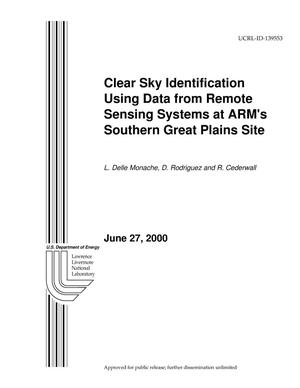Primary view of object titled 'Clear Sky Identification Using Data From Remote Sensing Systems at ARM's Southern Great Plains Site'.