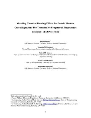 Primary view of object titled 'Modeling chemical bonding effects for protein electron crystallography: The transferable fragmental electrostatic potential (TFESP) method'.