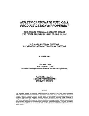 Primary view of object titled 'MOLTEN CARBONATE FUEL CELL PRODUCT DESIGN IMPROVEMENT'.