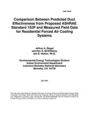 Primary view of object titled 'Comparison between predicted duct effectiveness from proposed ASHRAE Standard 152P and measured field data for residential forced air cooling systems'.