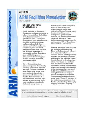 Primary view of object titled 'Atmospheric Radiation Measurement Program facilities newsletter, July 2001.'.