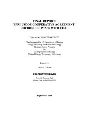 Primary view of object titled 'EPRI-USDOE COOPERATIVE AGREEMENT: COFIRING BIOMASS WITH COAL'.