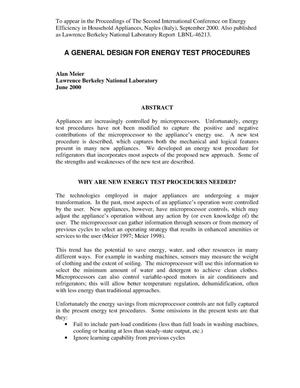 Primary view of object titled 'A general design for energy test procedures'.