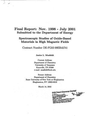 Primary view of object titled 'Spectroscopic studies of oxide-based materials in high magnetic fields. Final report for period November 1998 - July 2001'.