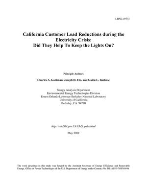 Primary view of object titled 'California customer load reductions during the electricity crisis: Did they help to keep the lights on?'.
