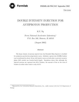 Primary view of object titled 'Double intensity injection for antiproton production'.