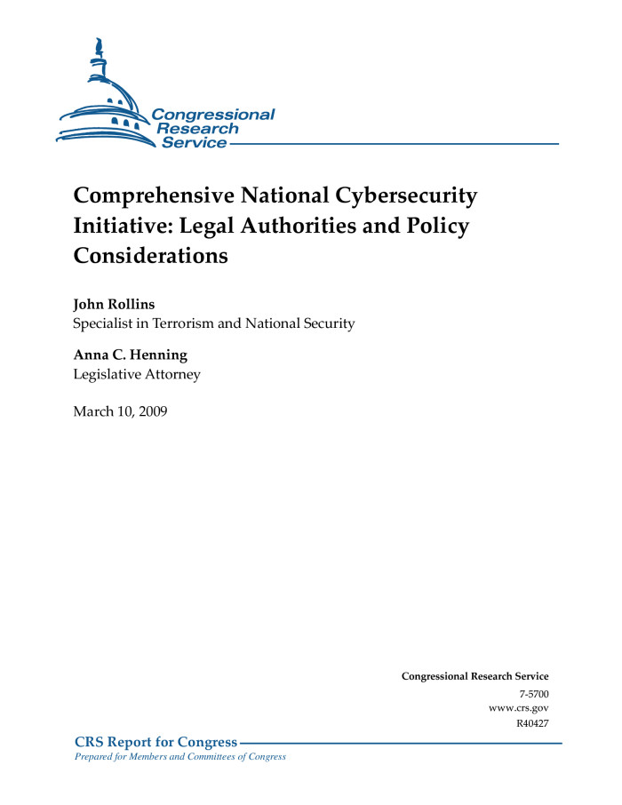 Comprehensive National Cybersecurity Initiative: Legal Authorities