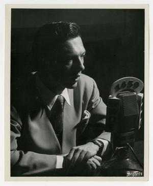 Primary view of object titled 'Willis Conover at the microphone'.