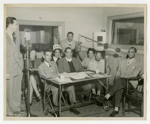 Primary view of object titled 'Willis Conover with Duke Ellington, Billy Strayhorn, and others'.