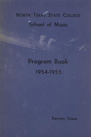 Primary view of object titled 'School of Music Program Book 1954-1955'.