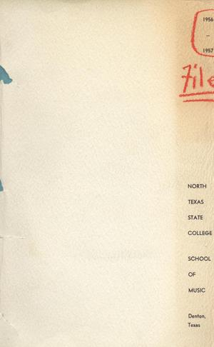 Primary view of object titled 'School of Music Program Book 1956-1957'.