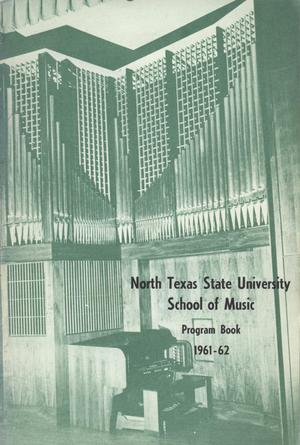 Primary view of object titled 'School of Music Program Book 1961-1962'.