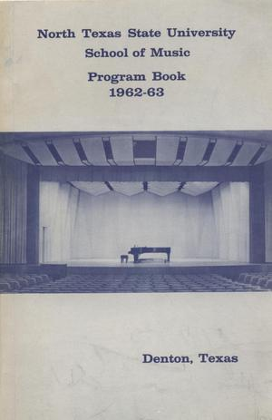 Primary view of object titled 'School of Music Program Book 1962-1963'.