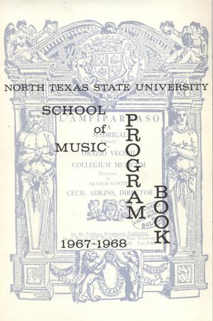 Primary view of object titled 'School of Music Program Book 1967-1968'.
