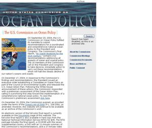Primary view of object titled 'United States Commission on Ocean Policy'.