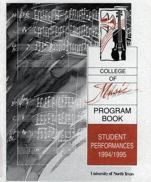 Primary view of object titled 'College of Music program book 1994-1995 Student Performances Vol. 2'.