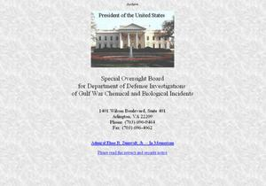 Primary view of object titled 'Special Oversight Board for Department of Defense Investigations of Gulf War Chemical and Biological Incidents'.