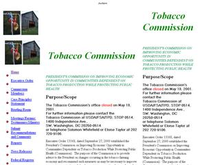 Primary view of object titled 'President's Commission on Improving Economic Opportunity in Communities Dependent on Tobacco Production while Protecting Public Health'.