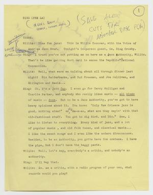 Primary view of object titled 'Music USA: Transcript of Program Featuring Bing Crosby'.