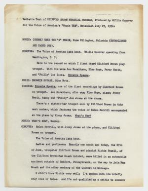 Primary view of object titled 'Music USA: Transcript of Clifford Brown Memorial Program'.