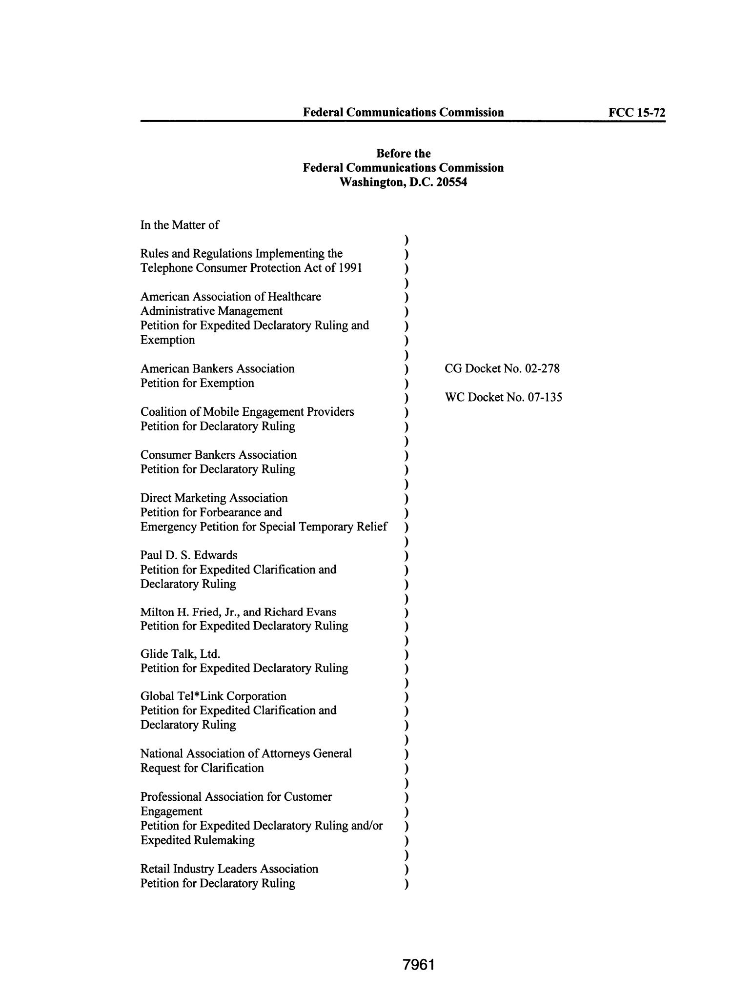 FCC Record, Volume 30, No. 10, Pages 7818 to 8098, Supplement (June - July 2015)                                                                                                      7961