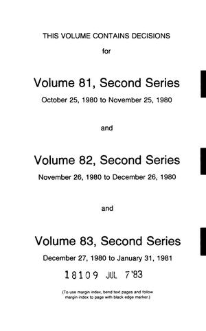Primary view of object titled 'FCC Reports, Second Series, Volumes 81 to 83, October 25, 1980 to January 31, 1981'.