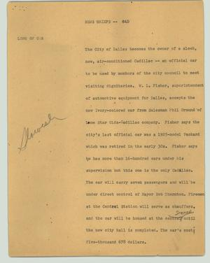 Primary view of object titled '[News Script: News Briefs - CAD]'.