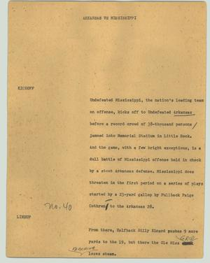 Primary view of object titled '[News Script: Arkansas vs Mississippi]'.