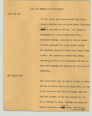 Primary view of object titled '[News Script: Girl and cheetah publicize movie]'.