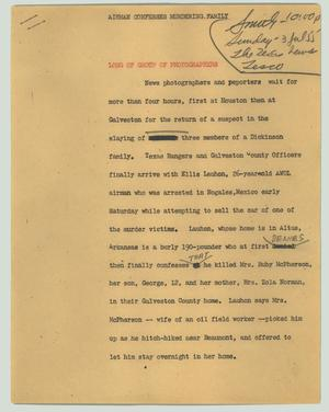 Primary view of object titled '[News Script: Airman confesses murdering family]'.