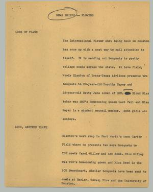 Primary view of object titled '[News Script: News Briefs - Flowers]'.