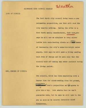 Primary view of object titled '[News Script: Rainmaker gets council goahead]'.