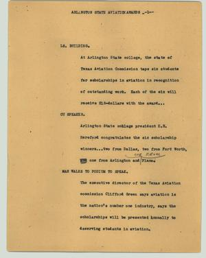 Primary view of object titled '[News Script: Arlington State aviation awards]'.